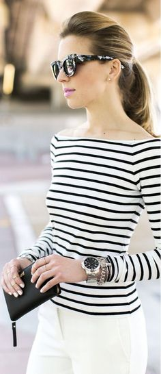 Marine Stripes - beautiful boat neckline. Reminds me of the sailor look