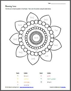blooming sums color by number addition - Language Arts Coloring Pages