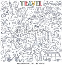 World Travel Set. Hand drawn simple vector sketches collection. Popular symbols of tourism and traveling - transportation, landmarks, luggage, accommodation, souvenirs, destinations, sightseeing.