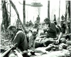 Dak To, Vietnam: As peace settles over Hill 875, weary GI's of the 173rd Airborne rest amid the shattered trees on that dearly-bought piece of real estate in the highlands near Dak To. But it is the peace of death---158 men of the 173rd gave their lives in the furious fighting that ended in the capture of Hill 875 on Nov. 22. (UPI/Frank Johnson)