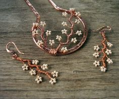Copper branches hair fork & earrings by mairzytdozy
