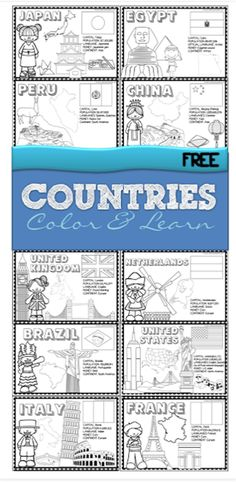 Countries - FREE printable color and learn about 18 countries from all around the world - use as coloring sheets or make a book for preschool, kindergarten, grade, grade, grade Geography For Kids, World Geography, Geography Activities, 2nd Grade Geography, Geography Lesson Plans, Teaching Geography Elementary, Learning Activities, Geography Quotes, Continents Activities