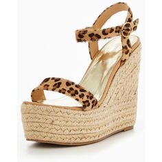 Myleene Klass Marni Leopard Print Leather Wedge (68 PEN) ❤ liked on Polyvore featuring shoes, sandals, strappy wedge sandals, wedge heel sandals, leather sandals, leather strap sandals and strap wedge sandals