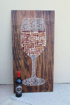 Wine Cork Wall Art wine glass wine corks wall art wine art wine lover gift wine corks