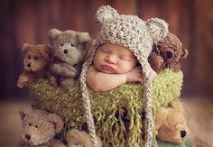 Baby Hat - Baby Bear Hat  - Baby Boy Hat - Baby Girl Hat- Earflaps & Ties with pom pom's Great Natural Color on Etsy, $19.99