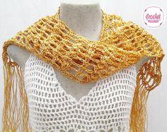 Pashmina Crochet Chiquérrima Fresquinha... <br>Tons de Dourado <br>Linha de 100% Viscose da Turquia
