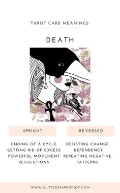 First things first, don't be afraid if you've pulled the death tarot card! Along with the Tower and Devil, Death is the most feared cards in a Tarot deck. Tarot Cards Major Arcana, Witchcraft For Beginners, Tarot Card Meanings, Tarot Spreads, Oracle Cards, Book Of Shadows, Tarot Decks, American Indians, American Art