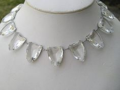 Stunning Art Deco Open Back Faceted Crystal Necklace