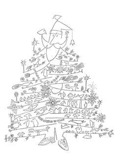 Santa Claus as Christmas tree, 1949, saul steinberg