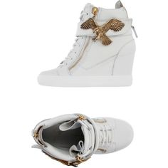 Giuseppe Zanotti Design High-tops & Trainers (1,610 SAR) ❤ liked on Polyvore featuring shoes, sneakers, white, high top wedge sneakers, wedge sneakers, hidden wedge sneakers, white leather shoes and animal trainer