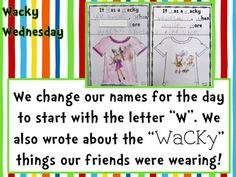 "Today was ""WaCkY"" Wednesday! I hope the kids had as much fun as I did! Find the centers HERE . Yes, there were WaCKy th. Letter W Activities, Dr Seuss Activities, Kindergarten Themes, Kindergarten Lesson Plans, Preschool Themes, School Holidays, School Fun, Dr Seuss Week, Dr Suess"