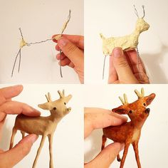 I made a deer for an upcoming diorama. Here are the basic steps I take when maki… I made a deer for an upcoming diorama. Here are the basic steps I take to make a sculpture. Paper Mache Projects, Paper Mache Clay, Paper Mache Crafts, Paper Mache Sculpture, Clay Art, Art Projects, Armature Sculpture, Ceramic Sculptures, Paper Toy