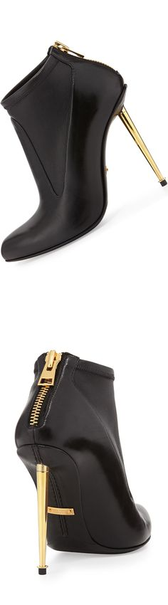 Tom Ford Leather Stretch Zip-Back Bootie (with back zip and Tom Ford golden hardware) LOOKandLOVEwithLOLO