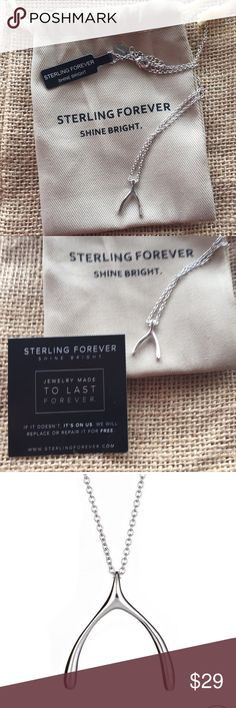 """Sterling Forever Wishbone necklace Guaranteed to never tarnish, rhodium plated brass.  3/4"""" wishbone pendant with a 16"""" chain and 2"""" extender. Comes in original protective packaging, cloth dust bag and guarantee card. Wonderful gift for someone embarking on a new phase of their life, graduation, new job or newly single. Sterling Forever Shine Bright Jewelry Necklaces"""