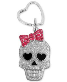 Betsey Johnson Key Chain, Antique Silver-Tone Skull and Bow Key Chain - Fashion Jewelry - Jewelry & Watches - Macy's
