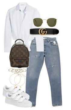"""""""Untitled #4643"""" by theeuropeancloset ❤ liked on Polyvore featuring Maje, Gucci, Linda Farrow, Louis Vuitton, Puma and Zimmermann"""