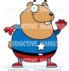 superhero clip art | Clip Art of a Chubby Super Hero Hamster Waving by Cory Thoman - #42