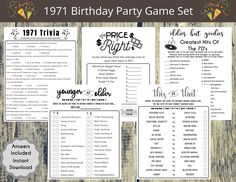 1971 50th Birthday Party Game Set, Born in 1971 Birthday Games, Adult Party games, 1971 Trivia, Price is right, 1970s songs, This Or That by NaNaPrintables on Etsy Girls Birthday Games, 50th Birthday Party Games, Slumber Party Games, Adult Party Games, 35th Birthday, Birthday Celebration, Birthday Ideas, First Class Stamp, Oldies But Goodies