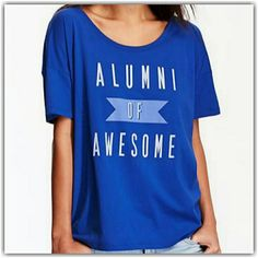 HP  ALUMNI OF AWESOME  Graphic Tee -Crew Neck. -Short Sleeves. -Text Graphic Across. -Boxy Silhouette. Shirt Is Blue  _Weekend Wardrobe Old Navy Tops Tees - Short Sleeve