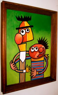 Bert and Ernie Picasso Style.would have been so cute in Ethans room as a baby! Kunst Picasso, Picasso Art, Pablo Picasso, Claude Monet, Halloween Costume Couple, Nostalgia Art, Picasso Style, Bert & Ernie, Pop Culture Art