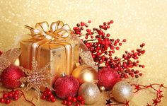Wallpaper New Year, snowflake, box, gift, packaging, toys, gold ...