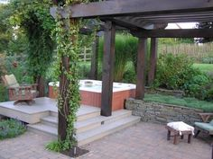 backyard design with hot tubs | Hot tub with patio and shade structure