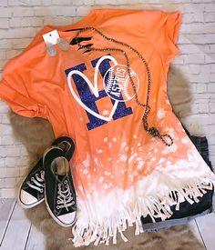 bleached and fringe womens top orange and navy blue baseball top Bleach Spray Shirt, Bleach Shirts, Vinyl Shirts, Sports Mom Shirts, Baseball Mom Shirts, Cheer Shirts, Astros T Shirt, School Spirit Shirts, Game Day Shirts