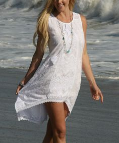Look what I found on #zulily! White Crochet-Accent Sleeveless Dress by Ananda's Collection #zulilyfinds