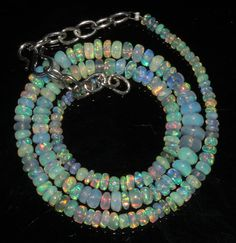 """45 Ctw 1 Strands 3 to 6 mm 15"""" Beads necklace Ethiopian Welo Fire Opal  2217"""