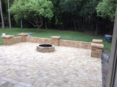 Paver patio area with fire pit and sitting wall.