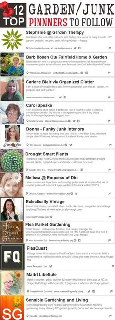 12 Top Pinterest Garden / Junk Pinners To Follow