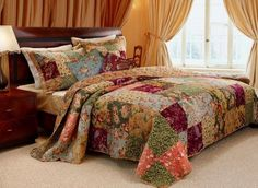 """French Country Patchwork Quilted Bedspread Set Oversized King by Finely Stitched. $159.99. 1 KING Size bedspread 120"""" x 118"""" (to the floor). Easy Care. Machine washable. Pattern: Patchwork with Floral and Paisley prints.. 2 KING SIZE Pillow Shams 20"""" x 36"""". Face and back 100% pre-washed Cotton Fill: 100% Cotton Reversible to a matching Floral pattern. French Country Floral Cotton Quilted King Bedspread Set - Add warmth and elegance to your bedroom with this gorgeous French..."""