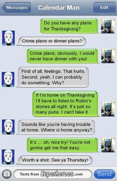 Batman text message lol Calendar Man