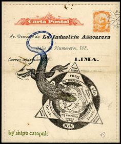 "Original Dubious Document 'Lima Lizard' Approx 5.5"" X 6.5"""