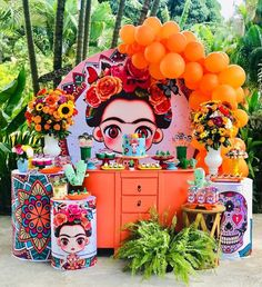 Festa Frida Kahlo linda e super alegre, adorei 🌺 por via 💛🧡♥️ . Mexican Birthday Parties, Mexican Fiesta Party, 1st Birthday Themes, Girl Birthday, Mexican Party Decorations, Birthday Decorations, Frida Kahlo Party Decoration, Frida Kahlo Birthday, Party Time