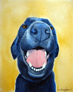 Dog Art Watercolor Painting - Dakota - Art Print of my Original Black Lab Watercolor Painting - happy black dog nursery art, gift for him