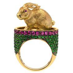 "1STDIBS.COM Jewelry & Watches - Valerie Danenberg - Spectacular ""Bunny"" Ring, Diamond, Sapphires & Tsavorites - Galerie Danenberg"