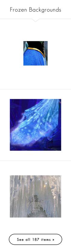 """""""Frozen Backgrounds"""" by disneydressing ❤ liked on Polyvore featuring costumes, frozen, anna, disney, snow queen halloween costume, comic book character costumes, princess halloween costumes, princess costume, pictures and backgrounds"""
