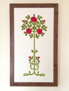 Embroidered panel by Ruth O'Leary: Ruskin Roses - full length
