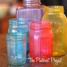 """Make sure your jars are clean, mix a good dollop of mod podge and a few drops of food coloring together until you get the desired color. Then you simply start painting the colored mod podge on the outside of your jar. This is me attempting to make an """"ombre"""" effect jar...        It's really cool to watch how the paint and colors change as the Mod Podge dries. via Living the Blue Collar Way on facebook"""
