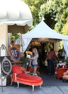 Interior designers Denise Trefry (inset left) and Myra Hoefer set up their three-day French-style antique and flea market, or brocante, on a walkway leading from Center Street to a Healdsburg parking lot. The market, featuring jewelry, fine furniture, accessories and art, attracted such a crowd that the designers plan to offer a yearly market. Photo: Eustacio Humphrey