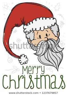 Festive Santa Claus in doodle style with traditional elements in the background like gift box, holly leaves, snowflakes, pine tree and more to celebrate a merry Christmas. Holly Leaf, Christmas Illustration, Pine Tree, Holi, Snowflakes, Festive, Merry Christmas, Doodles, Presents