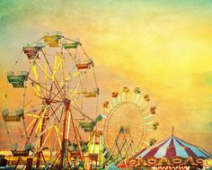 Carnival Photography - Midway Sunset - carnival summer Ferris wheel county fair textured teal green sky carousel nursery decor 8x10. $30.00, via Etsy.