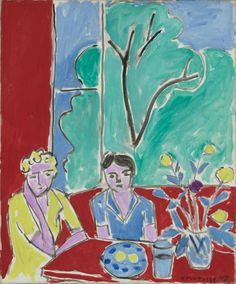 Henri Matisse (French, 1869-1954) Two Girls, Red and Green Background 1947 Oil on canvas 22 ⅛ x 18 ¼ in.