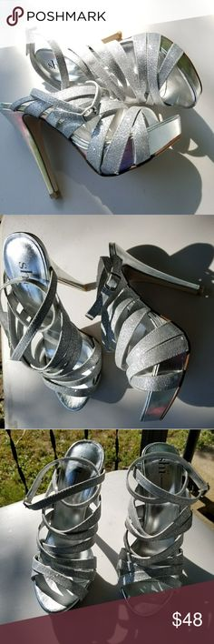 """Silver Glitter ankle strap heels size 8.5 Sold with original shoe box Excellent used condition only worn a few times. Some scratches and minor wear. Silver Glitter. Ankle strap closure.  Approx. 5 1/2"""" heel Shi by JOURNEYS Shoes Heels"""