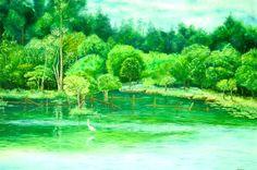 A garça solitária (1998),óleo sobre tela de Jeriel.Dimensões 100 x 150cm. Acervo da Procuradoria Geral do Estado do Amapá.