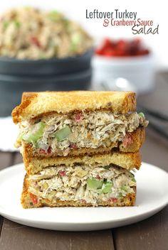 Leftover Turkey and Cranberry Sauce Salad Sandwich