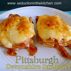 Pittsburgh Devonshire Sandwich #SundaySupper Recipe Lunch and Snacks with butter, flour, cheddar cheese, chicken broth, milk, salt, toast, crispy bacon, turkey breast, cream sauce, melted butter, parmesan cheese, paprika