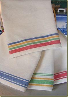 Stripe-edged tea towels.