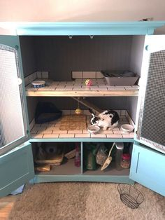 Large Indoor Rabbit Hutch, Ideas and Accessories for DIY Rabbit Cages - Spiffy Pet Products - Tips for Pets - How Diy Bunny Cage, Diy Guinea Pig Cage, Guinea Pig Hutch, Bunny Cages, Diy Bunny Hutch, Rabbit Cage Diy, Guinea Pigs, Indoor Rabbit House, Rabbit Hutch Indoor